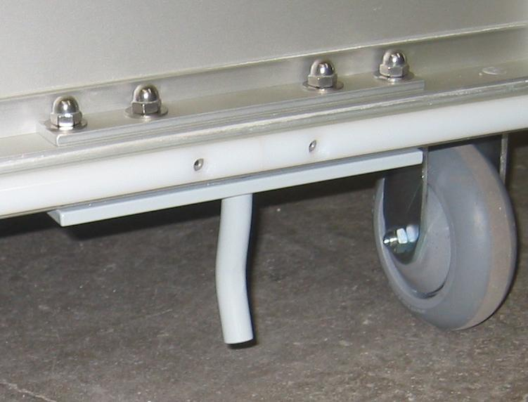 Pin side of spring-loaded tow bar